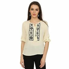 VS FASHION Women's Casual Wear Beige Embroidered Rayon Rolled Up Top (VS-087)