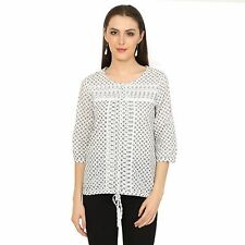 VS FASHION Women's Casual Wear White Printed 3/4th Sleeve Top (VS-091)