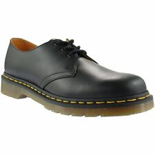 Black Dr Marten Shoes with Yellow Stitching 3 Eye Black Lace up shoe ~ DM025AY