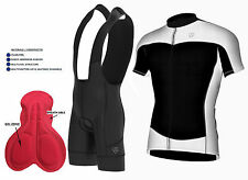 Mens Cycling  Half Sleeve Jersey Top Racing Biking +Gel Padded Bib shorts set