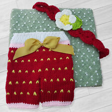 BABY GIRLS PHOTO PROP OUTFIT LITTLE STRAWBERRY BLANKET, SHORTS AND HEADBAND SET