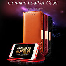 Genuine Leather Magnetic Wallet Stand Case Cover+Tempered Glass For iPhone 7/7+