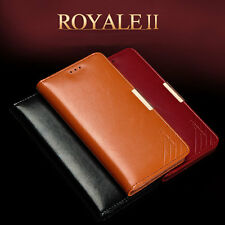 Genuine Leather Magnetic Wallet Stand Case Cover+Tempered Glass For iPhone Model