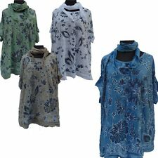 Womens Lagenlook Floral Print Sequin Embellished Short Sleeve Dress With Scarf