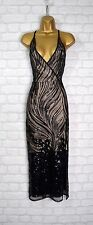 ~KASEY~ Black Sequin Bodycon Evening Maxi Cocktail Formal Party Dress Size 10 12