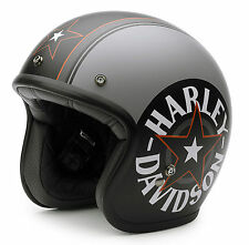 HARLEY-DAVIDSON BELL HALF FACE HELMET, GREY STAR RETRO, MATT CUSTOM DESIGN