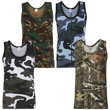 Men's Army Camouflage Muscle Vest Combat Cotton Gym Weight Lifting Running S-5XL