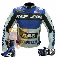 REPSOL HONDA GAS BLUE MOTORBIKE MOTORCYCLE COWHIDE LEATHER JACKET,GLOVES & BOOTS