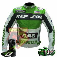 HONDA GAS REPSOL GREEN MOTORBIKE MOTORCYCLE COWHIDE LEATHER JACKET,BOOTS & GLOVE