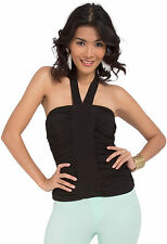 Womens Black Halter Tie Neck Ruched Banded Sexy Club Casual Party Tank Tube Top