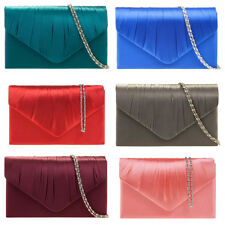 NEU Damen Satin plissiert Clutch Tasche Handtasche Ball Braut Brautjungfer
