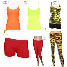 New Ladies Girls Lycra Neon Hot Pant Shorts Vest Top Legging Dance Wear All in 1