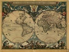 Poster Print Antique World Map World