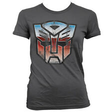Officially Licensed Transformers- Distressed Autobot Shield Women T-Shirt S-XXL