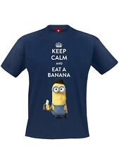 Minions Keep Calm Male Männer T-Shirt blau