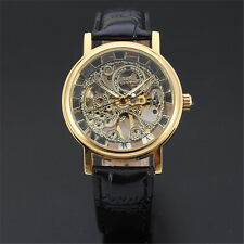 Mens New Skeleton Hollow Wristwatch Leather Band Auto Mechanical Business Watch