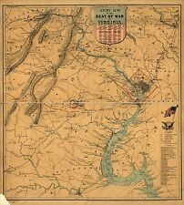 Poster Print Antique American Military Map Virginia