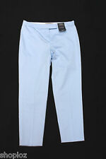 M&S Sizes 8S 12M 22M Cotton  7/8 Trousers with Stretch Bnwt Fresh Blue 26L 23L