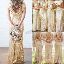 Wedding Bridal Mermaid Gold Sequin Dress Bridesmaid Stretchy Backless Party Gown