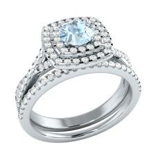 Demira Jewels Aquamarine & Diamond 925 Sterling Wedding Bridal Ring Set