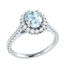 Demira Jewels Aquamarine & Diamond 925 Sterling Wedding Engagement Ring