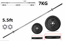 Barbell Weight Set with 5.5ft Spin-lock Barbell Bar & Cast Iron Weight Plates