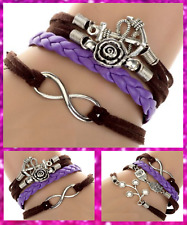 Brown Purple Leather Wrap Bracelet Infinity Anchor Owl Charm Friendship  UK Sell