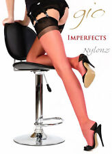 Gio RHT Stockings / Nylons - CORAL RED / BLACK CONTRAST - imperfects