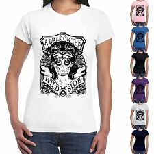 T-Shirt Divertente Donna Maglietta Con Stampa Frasi A Walk On The Wild Side