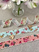 Vintage Floral Ribbon - Floral Polka Dot with Ivory Lace Scalloped Edge Trim