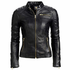 Women's Slim Fit Black Biker Style Real Soft Leather Jacket
