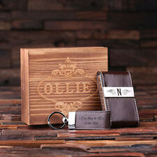 Personalised Leather Engraved Card Holder and Key Chain