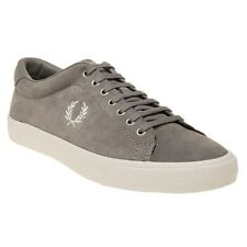 New Mens Fred Perry Grey Underspin Suede Trainers Plimsolls Lace Up