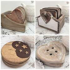 WOODEN HEART BUTTON MOON & STARS COASTERS SHABBY CHIC PLACEMAT TEA CUP COASTER