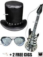 Supreme Slash Fancy Dress Top Hat Sunglasses Guitar Rocker 80s Guns N Roses Set