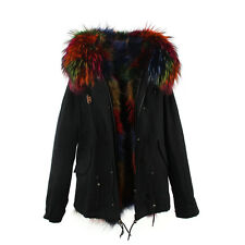 Extra LARGE REAL FUR Lining and FUR Hood Coat  Jacket Parka -Black Shell