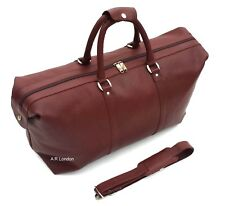 LARGE COWHIDE LEATHER WEEKEND HOLDALL TRAVEL DUFFLE GYM BAG SPORTS CABIN NEW UK