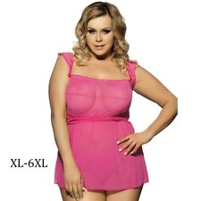 Cute Pink Lace Dress Sleepwear Sexy Babydoll Lingerie with G-string Plus Size