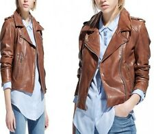 Women's Stylish Trendy Brown Real Leather Jacket