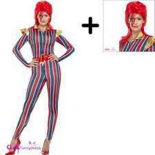 Miss Space Superstar Bowie Ziggy Stardust Vestito da Adulto COSTUME + PARRUCCA