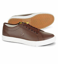 Lyle & Scott Teviot Leather Fashion Plimsolls Shoes Casual Trainer Brown