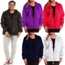 Womens Mens Unisex Lightweight Summer Waterproof Hooded Rain Jacket Coat Kagool