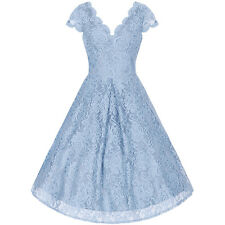 BLU GHIACCIO PIZZO RICAMATO ANNI 50 vintage Swing COCKTAIL DAMIGELLE D'ONORE