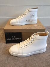 100% Authentic Christian Louboutin Louis Flat White Calf Hi Top Classic Sneakers