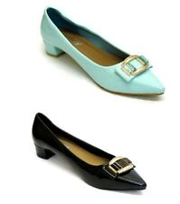 New Womens Ladies Low Block Heel Pointy Patent Court Shoes Work Party Pumps Size