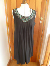 RONNIE NICOLE BLACK PLEATED SHIFT DRESS TRIBAL BEAD DESIGN OH SO SLIM UK 12 BNWT