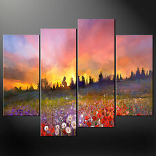 POPPY FIELD SUNSET LANDSCAPE CANVAS PRINT PICTURE WALL ART VARIETY OF SIZES