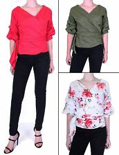 WOMENS LADIES WRAP OVER TIE FRONT RUCHED SLEEVE RUFFLE BELTED BLOUSE SHIRT TOP.