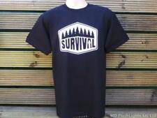 SURVIVAL MOTIF CASUAL BLACK CREW NECK T-SHIRT CAMPING BUSHCRAFT HIKING CLOTHING