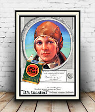 Lucky strike  : Vintage cigarette advertising , Wall art , poster, Reproduction.